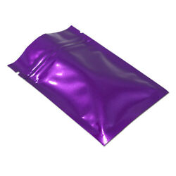 Purple Zip Lock Bags Aluminum Food Storage Package Glossy Mylar Heat Seal Pouch