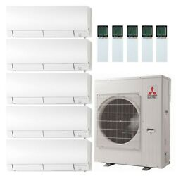 Mitsubishi 45K BTU 19 SEER Wall Mounted Five Zone Mini-Split Heat Pump System