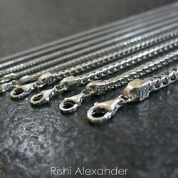 Real 925 Sterling Silver Square Franco Mens Boys Chain Necklace Made in Italy $295.99