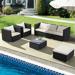34567PCS Rattan Wicker Sofa Set Sectional Couch Furniture Patio Outdoor