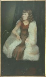 BEAUTIFUL 19th C Portrait Painting of a Girl by AS Bradley