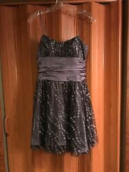 Prom holiday juniors Size 7 8 Brown Tule and satin dress with gold and silver. $12.00