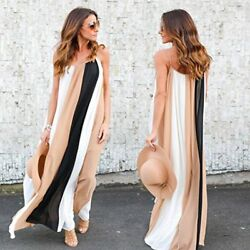 Women's Summer Chiffon Relaxing Dress Funic Beach Dress Sleeveless Maxi Long Dr