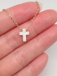 Sterling Silver 925 Tiny White Opal Cross Pendant Necklace Womens 9mm