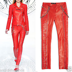 $5975 New VERSACE Red Leather Moto Pants With Vinyl Animal Stripes 38 - 2