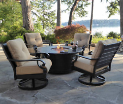 5 Piece Outdoor Round Fire Pit Table Set Patio Furniture Propane Gas 4 Chairs