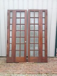 Antique Victorian Bi-Fold French Doors Beveled Glass-Knobs~OHIO-PICK-UP~ONLY!