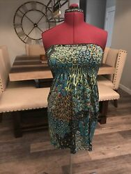 Womens Size Medium Bathing Suit Cover up Dress Blue and Green $6.99