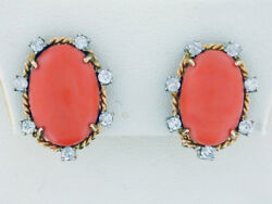 Vintage Handmade 18kt Yellow Gold Orangey-Pink Coral and Diamond Earrings.