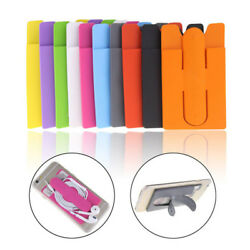 Adhesive Card Pouch Case Pocket Sticker Phone Stand Credit Card Holder Sleeve