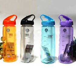 Flip Straw Drinks Sport Hydration Water Bottle Running Cycling Hiking Free US