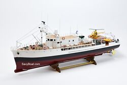 RV Calypso Research Vessel Handmade Wooden Ship Model 48quot; Scale 1:35 RC Ready $899.00