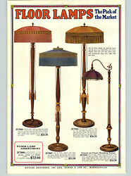 1922 PAPER AD 2 Sided COLOR Fringe Shade Floor Lamps Bridge Reading Couch $30.38