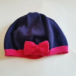 Gymboree Knit Toddler Girls Hat Size 2T-3T Navy Blue & Pink Bow Infant Beanie