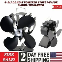 4-Blade Heat Powered Stove Fan for Wood Log BurnerFireplace increases 80% more