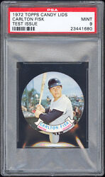 1972 Topps Test Candy Lids Carlton Fisk (Rookie issue) PSA 9 Very scarce. Pop 1.