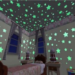 100pcs 3D Star Wall Stickers Decal Glow In The Dark Baby Kids Bedroom Home Decor $9.38