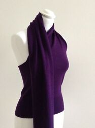 BNWOT MELYS PURPLE 100% CASHMERE HALTER NECK TOP WITH ATTACHED SCARF SIZE 1
