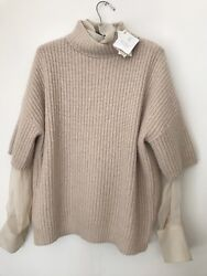 NWT BRUNELLO CUCINELLI 2PC SET 100% CASHMERE & 100% SILK ITALY IVORY $3235