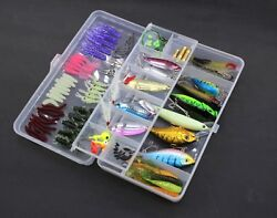 100pcs Fishing Lures Set Kit - Fish Spinnerbait Hooks Bass Lure Bait Tackle Box $14.99