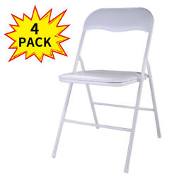 4 Pack Commercial White Plastic Folding Stack able Wedding Party Event Chair