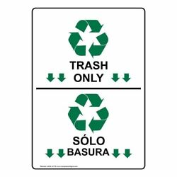 Trash Only Bilingual Label Decal 7x5 in. Vinyl for RecyclingTrashConserve