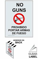 No Guns Bilingual Window Cling 5x3.5 inch Clear Vinyl for AlcoholDrugsWeapons