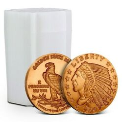 LotTube of 20 - 1 oz Copper Rounds Incuse Indian