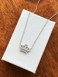 Sterling Silver 925 Cz Crown Pendant Necklace 13mm
