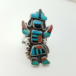 Navajo Cachina Zuni Sterling Silver Onyx Turquoise Coral Inlay Tribal Ring Size6