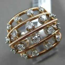 ESTATE EXTRA LARGE 1.50CT DIAMOND 14KT WHITE & ROSE GOLD 3D MULTI ROW LOVE RING