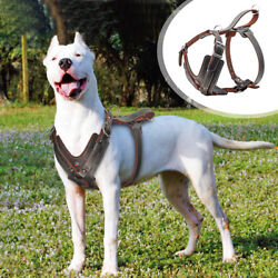 No Pull Dog Leather Harness for Large Dogs Control Handle Adjustable Pitbull XL $45.99