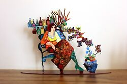 Patricia Govezensky Table Sculpture Hand Painted Cutout Steel - Sunday Morning