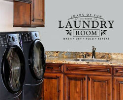 LAUNDRY ROOM VINYL WALL DECAL WASH DRY FOLD REPEAT HELP NEEDED LETTERING STICKER $10.40