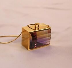 MAGNIFICENT FRENCH 18K AMETRINE PENDANT NECKLACE SIGNED