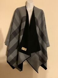 NWT Burberry Reversible Charlotte Solid to Check Wool Cape Charcoal