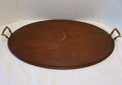 Antique MAHOGANY WOOD Butler's OVAL SERVING TRAY Inlay CRESCENT MOON Federal