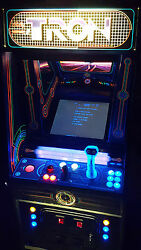 Original TRON Video Arcade Game Converted to Lit SuperCade!  Extra Black Lights!