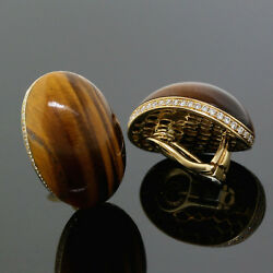 Roberto Coin 18K Yellow Gold Diamond Tiger Eye Cabochon Clip-On Earrings
