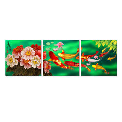 Large Wall Art Decor China#x27;s Wind Feng Shui Koi Fish Painting printed On Canvas $39.99