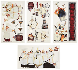 Italian Fat Chefs Wall Decals Kitchen Chef Stickers Cooking Cafe Decorations $12.72