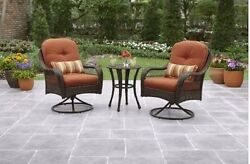 3 Pc Bistro Set Patio Table 2 Swivel Chairs Rust Outdoors Dining Deck Garden New
