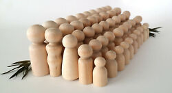 50 Wooden Peg Dolls  10 Families of 5  Peg People  Waldorf  Unfinished Maple