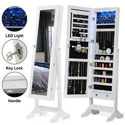 Full Length LED Mirror Jewelry Cabinet Storage Organizer Floor Stand White