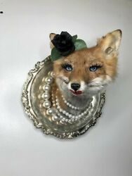 Novelty Red Fox Taxidermy Wall Mount-Funny-Gift-Pearls-Flower-She Shed- Decor