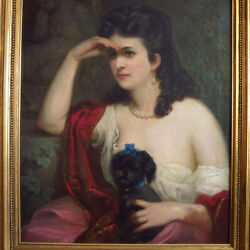 Victorian Portrait of Beautiful Woman Holding Her Dog Oil Painting