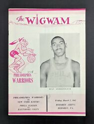 WILT CHAMBERLAIN WARRIORS 100 POINT GAME ORIGINAL 1962 WIGWAM PROGRAM INCREDIBLE