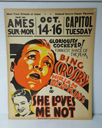 Original Vintage Movie Poster She loves Me Not Bing Crosby Hollywood Memorabilia