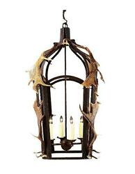 Custom Hand Forged Iron Band Lantern w Real Antlers - Lodge or Cabin