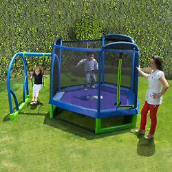 Bounce Pro My First Jump 7-Foot Trampoline and Swing Outdoor Playground Kid Park